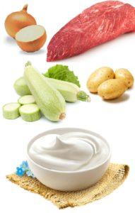 лук сметана вырезка картошка кабачки