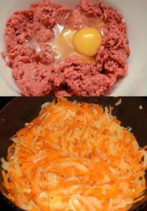 фарш говяжий с яйцом, морковь лук жареные