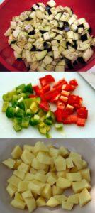 резаные картошка перец баклажан