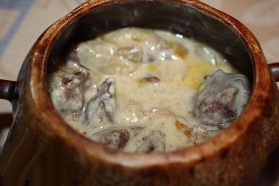 Говядина в сливках в горшочке готовая