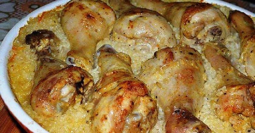 куриные ножки запеченные на рисе