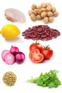 Набор продуктов для приготовления куриной грудки с бобовыми