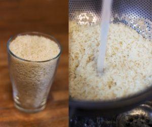 стакан риса, промывать