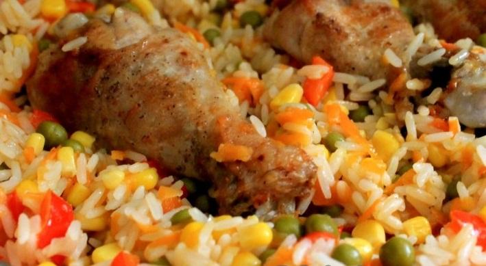 рис кукуруза морковь куриная ножка