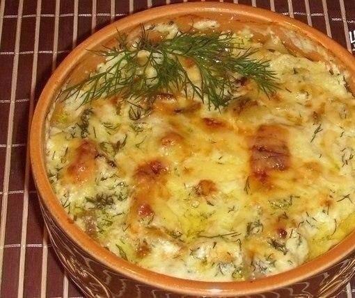 Картофель в горшочке с печенью под сыром