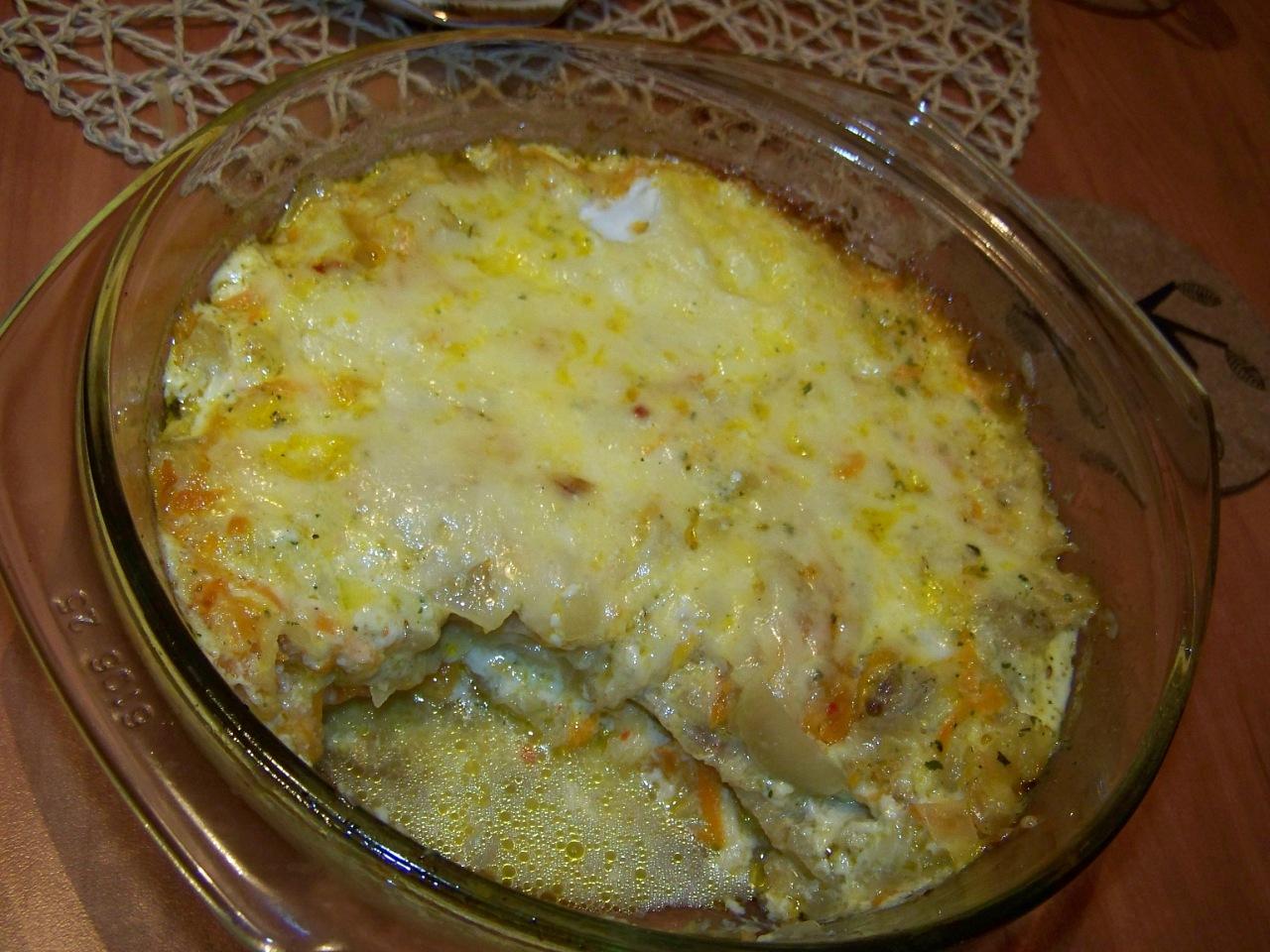 тилапия с кабачками под сыром