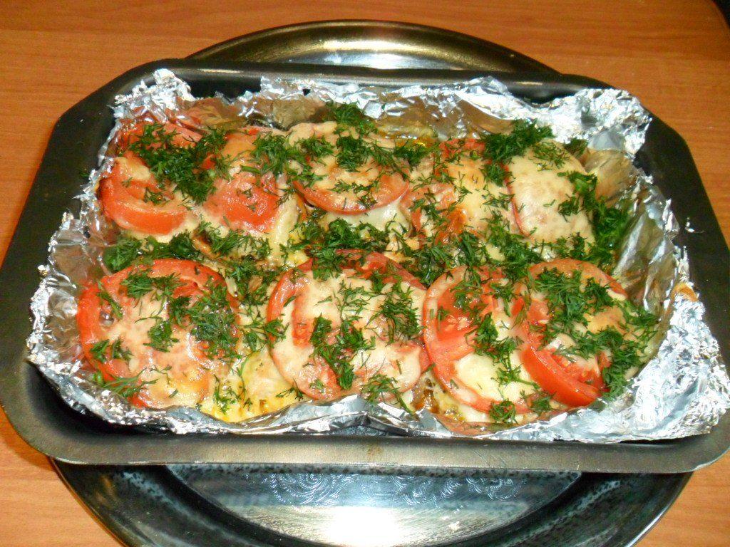 Готоваягорбуша с помидорами и сыром в духовке