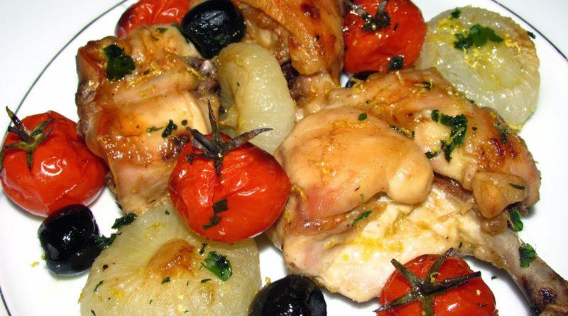 Кроличье мясо с овощами из духовки