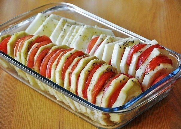 Укладка овощей в форму для запекания