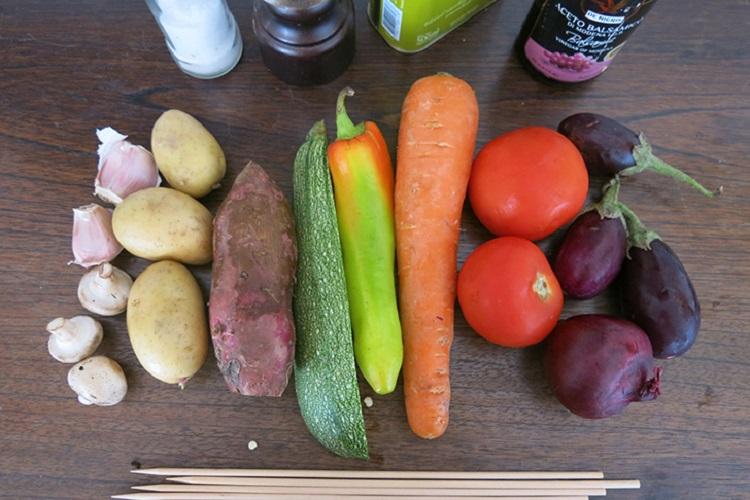"""Ингредиенты для овощного шашлыка """"радуга"""""""