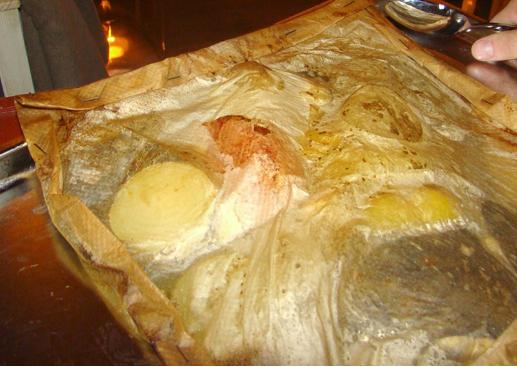 Конверт из пергамента с рыбой и овощами